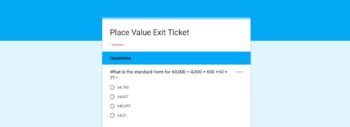 Place Value Exit Ticket