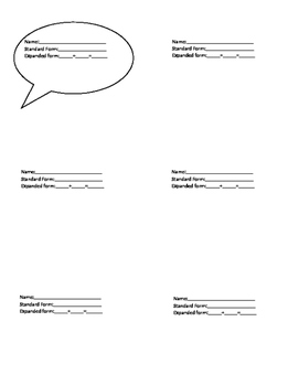 Place Value Exit Ticket Card
