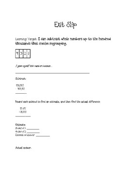 Place Value Exit Tickets