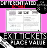 Place Value Exit Tickets Differentiated Math Assessments -