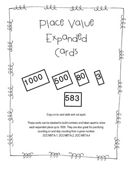 Place Value Expanded Cards