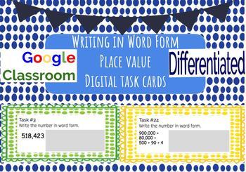 Place Value Word Form Digital Task Cards {Google Classroom}