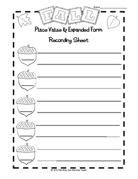 Place Value & Expanded Form: Fall Harvest 10-10000