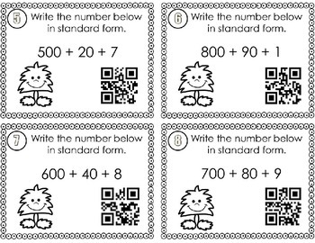 Place Value Expanded Form SCOOT with QR codes  CCSS 2.NBT.A.3