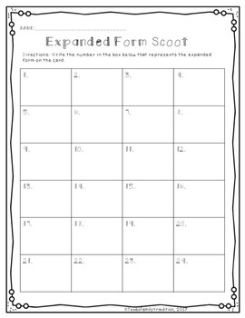 Place Value: Expanded Form Scoot