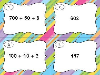 Place Value - Expanded Form Scoot Cards