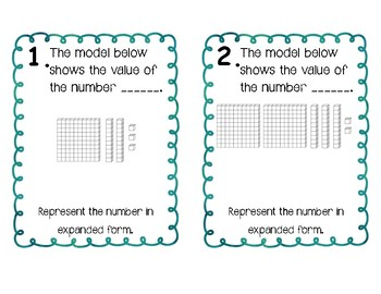 Place Value Expanded Form Scoot (ones, tens, hundreds)