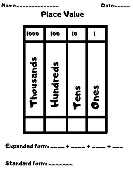 Place Value- Expanded Form/Standard Form