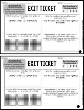 Place Value Expanded Form Standard Form Exit Tickets Differentiated Quick Check