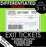Place Value Expanded Form Standard Form Exit Tickets Diffe