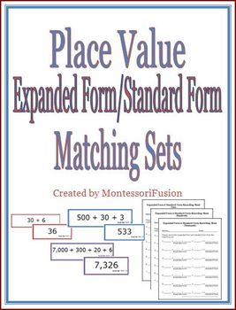 Place Value: Expanded Form & Standard Form Matching Sets + ...