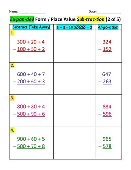 Place Value (Expanded Form) Subtraction: 3-Digits (5 Pages)