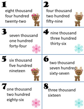 Place Value Expanded Form Written Form Reindeer Pals