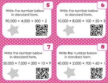Place Value Expanded Form to Standard Form 10,000s Place  SCOOT with QR Codes
