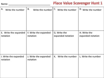 Place Value & Expanded Notation Scavenger Hunt Up to 999