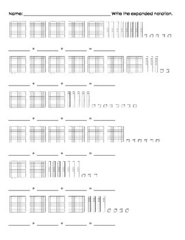 Place Value (Expanded Notation with Base Ten Blocks) Differentiated Worksheets