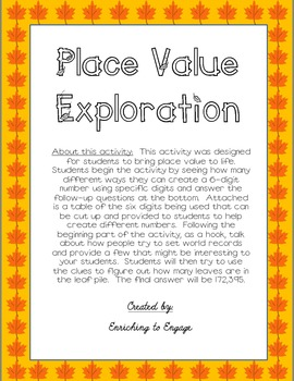 Place Value Exploration 6-digits