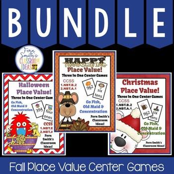 Fall Place Value Math Center Games Bundle