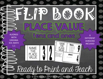 FLIP BOOK 2 Digit Whole Numbers Virginia SOL Grade 1