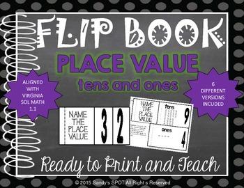 FLIP BOOK 2 Digit Whole Numbers Virginia SOL Grade 1