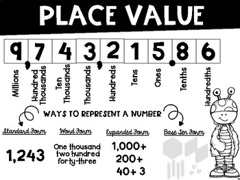 Place Value FREEBIE Friendly Monster theme in Color and Black & White