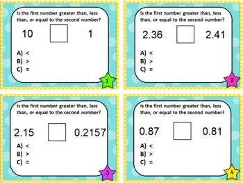 Place Value Comparing Whole & Decimal Numbers to Thousandths Task Cards