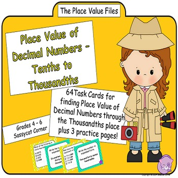 Place Value Files - Naming Decimal Numbers to Thousandths Task Cards