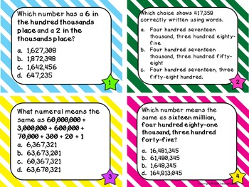 Place Value Files - Naming Hundred Thousands to Hundred Millions Task Cards