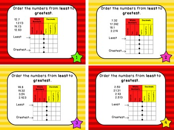 Place Value Files - Ordering Decimal Numbers to Thousandths Task Cards