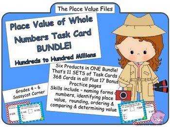 Place Value Files - Place Value with Whole Numbers Task Card Bundle