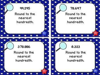 Place Value Files - Rounding Decimal Numbers To Thousandths Task Cards