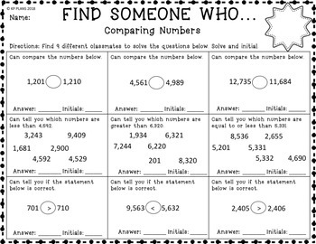 Place Value & Rounding Find Someone Who Activity