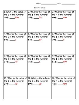 Place Value: Find the Value Assessment or Practice Sheets - King Virtue