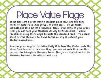 Place Value Flags