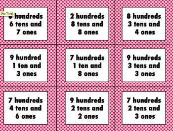 Place Value Flash Cards