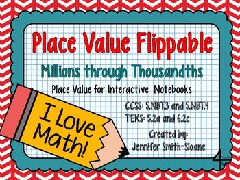 Place Value Flippable- Interactive Place Value (Millions through Thousandths)