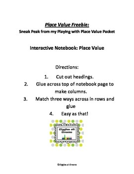 Place Value Freebie