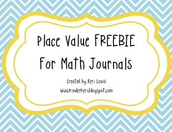 Place Value Freebie For Math Journals