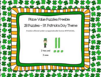 Place Value Freebie - St. Patrick's Day theme