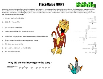 Place Value Funny - Figure It Out (5th Grade) for Common Core