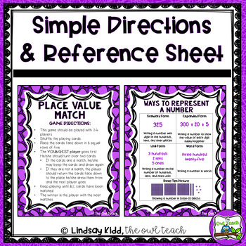 Second Grade Place Value:  Matching Game On-Level