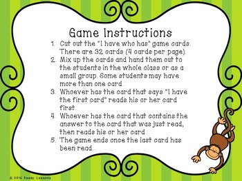 1st Grade Place Value I Have Who Has Place Value Game Tens and Ones 1.NBT.2