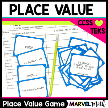 Place Value Game *Expanded Notation* Word Form *Expanded Form* by Marvel Math