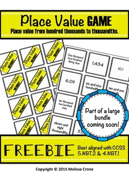 Place Value Game FREEBIE with decimals MEMORY or GO FISH