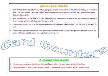 Place Value Game - Playing cards