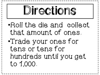 Place Value Game: Roll to 1,000