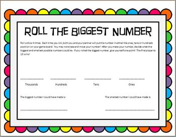 Place Value Game - To the Thousand