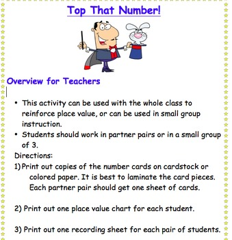 Place Value Game - Comparing Numbers