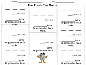 Place Value Game (Trash Can Game, Largest Number)