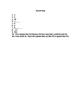 Place Value Game and Quiz